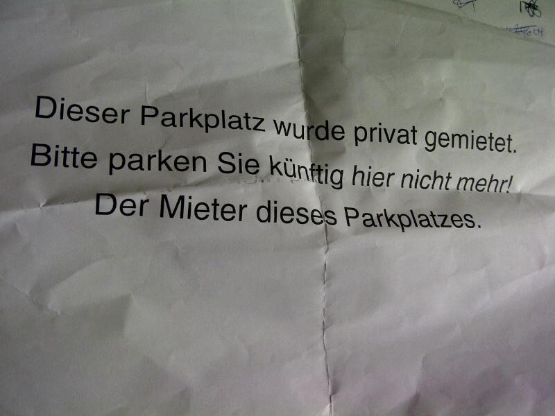 Bitte parken Sie künftig hier nicht mehr!